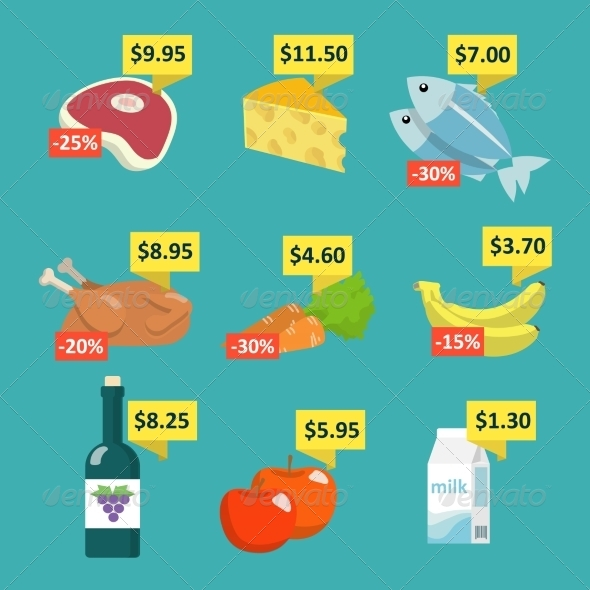 GraphicRiver Supermarket Food with Price Tags 7270667