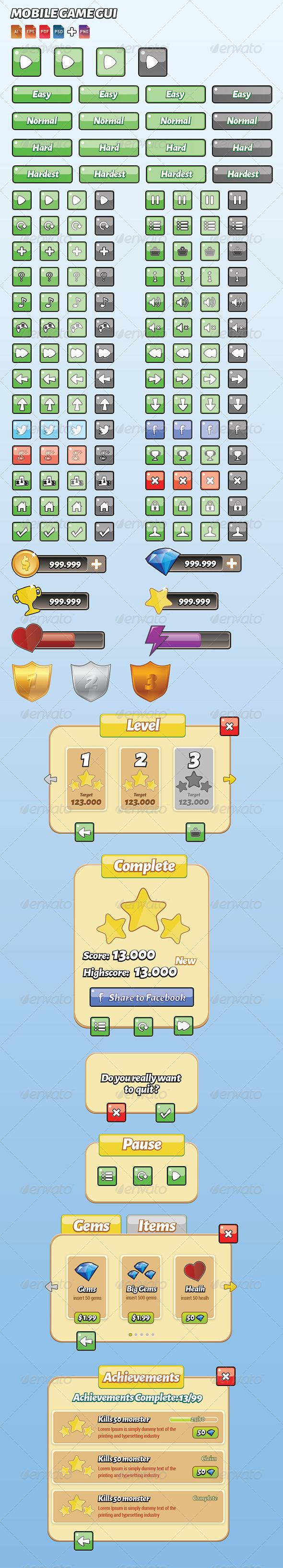 GraphicRiver Mobile Game Gui Full 7225672