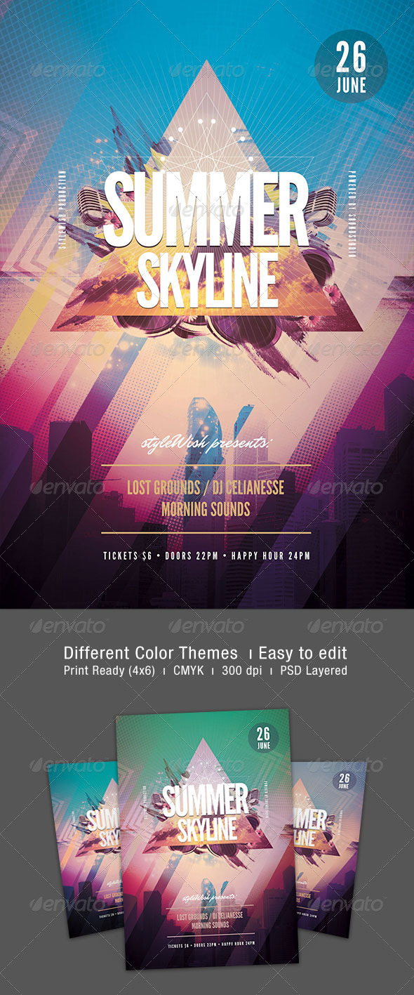 GraphicRiver Summer Skyline Flyer 7271432