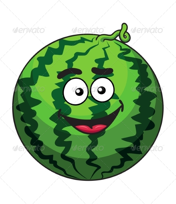 GraphicRiver Cartoon Green Watermelon Fruit 7272131