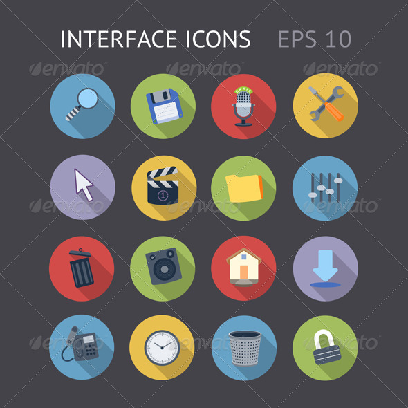 GraphicRiver Flat Icons For Interface 7272209