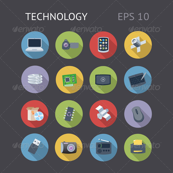 GraphicRiver Flat Icons For Technology 7272220