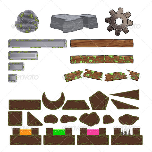 GraphicRiver Set of Game Elements Platforms and Objects 7272642