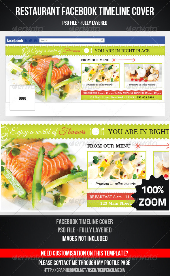 GraphicRiver Restaurant Timeline Cover 7273043