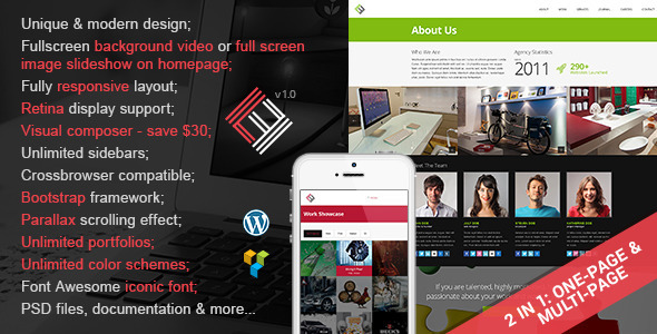 ThemeForest Loft Studio 2 in 1 Parallax Wordpress Theme 7209074