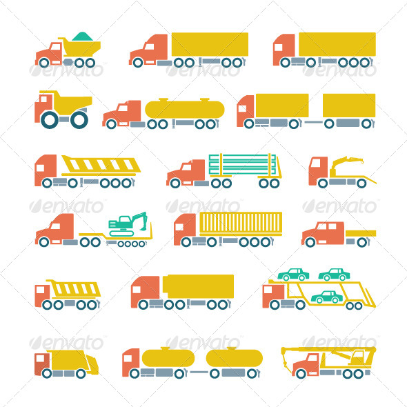 GraphicRiver Set Flat Icons of Trucks Trailers and Vehicles 7273430