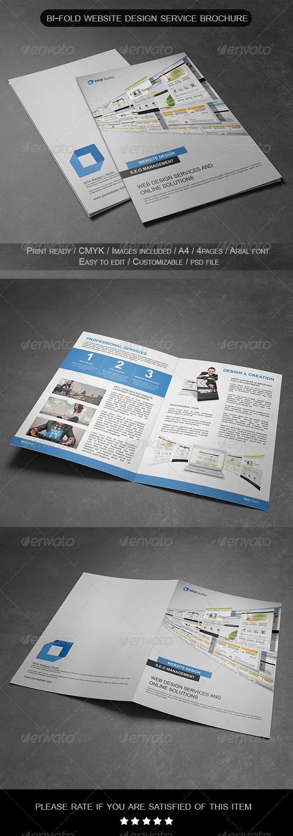 GraphicRiver Bi-Fold Website Design Service Brochure 7273573