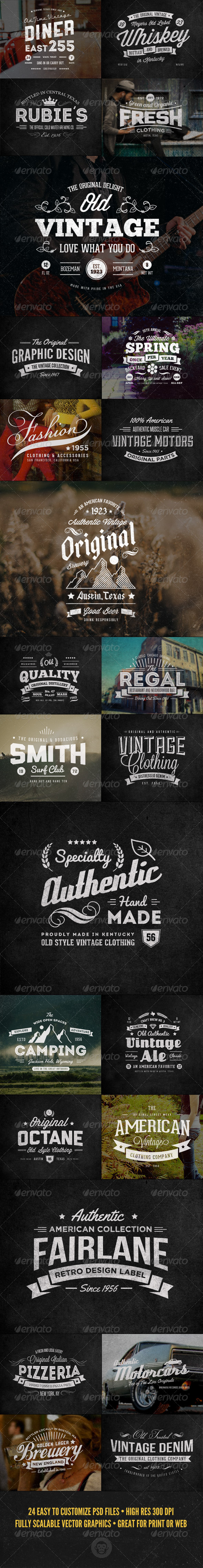 GraphicRiver 24 Vintage Labels and Logos Bundle 7255445