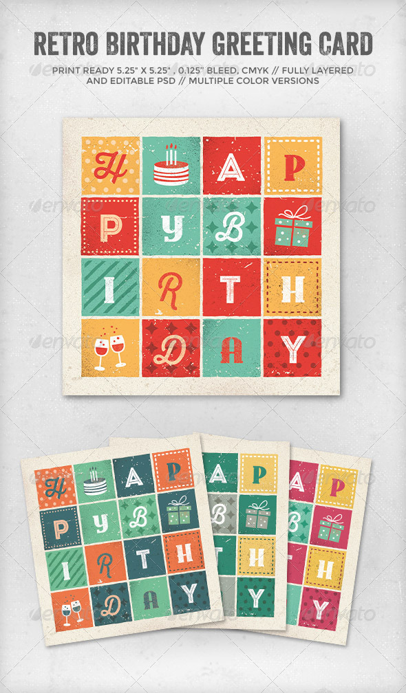 GraphicRiver Retro Letters Birthday Card 7274389