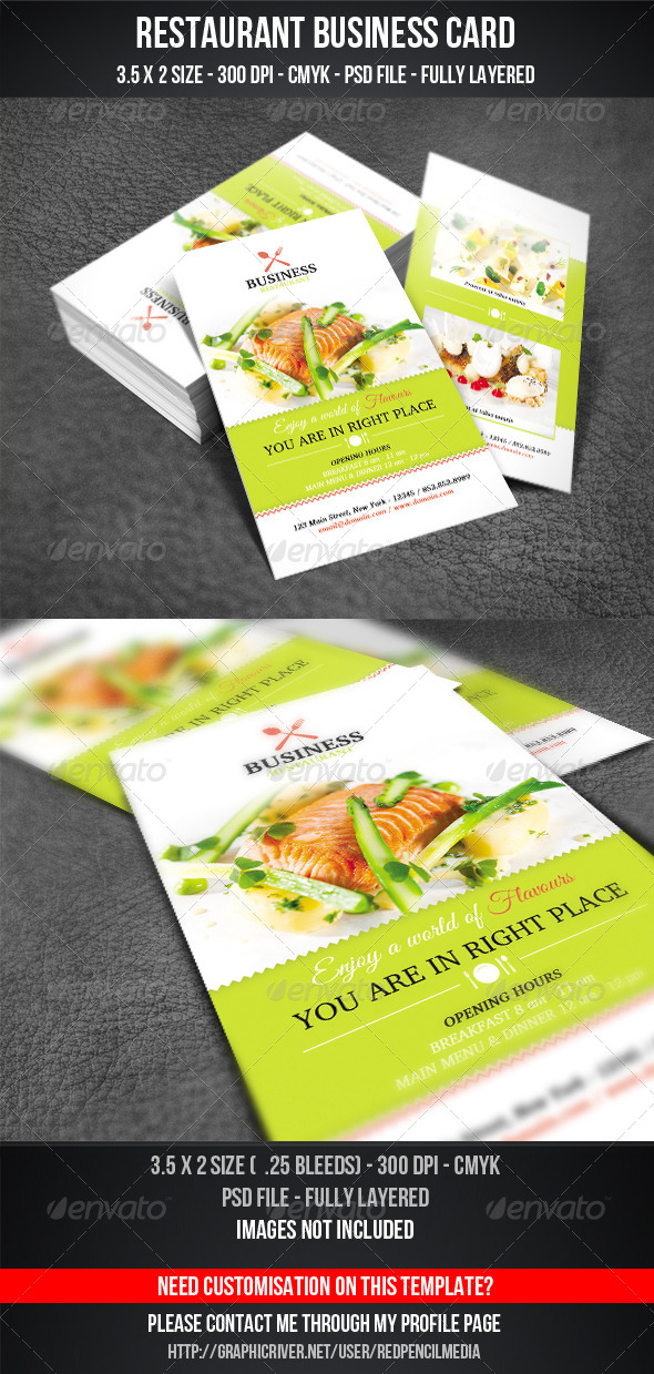 GraphicRiver Restaurant Business Card 7276407