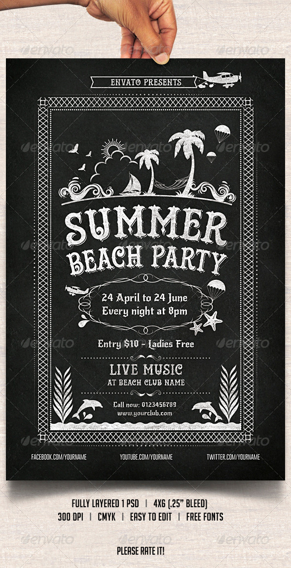 GraphicRiver Chalkboard Summer Beach Party 7278610