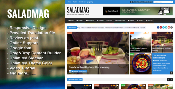 ThemeForest SaladMag Responsive WordPress Magazine Theme 7049401