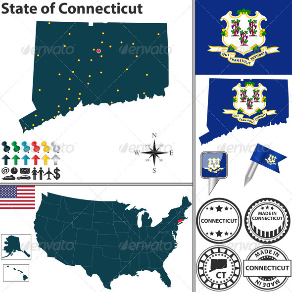 GraphicRiver Map of State Connecticut USA 7278667