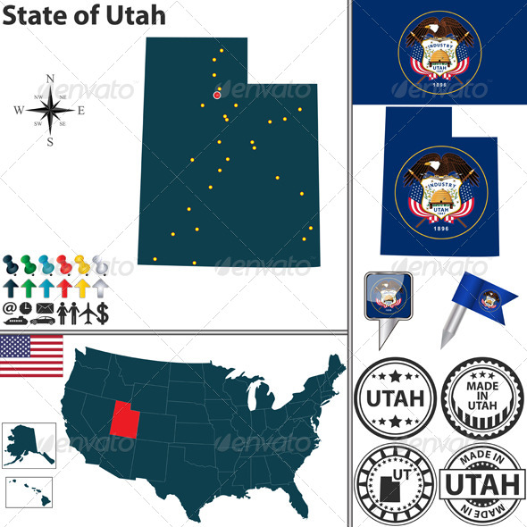 GraphicRiver Map of State Utah USA 7278668