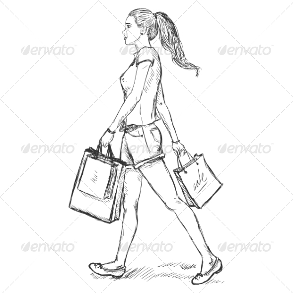 GraphicRiver Sketch Shopping Girl 7278695