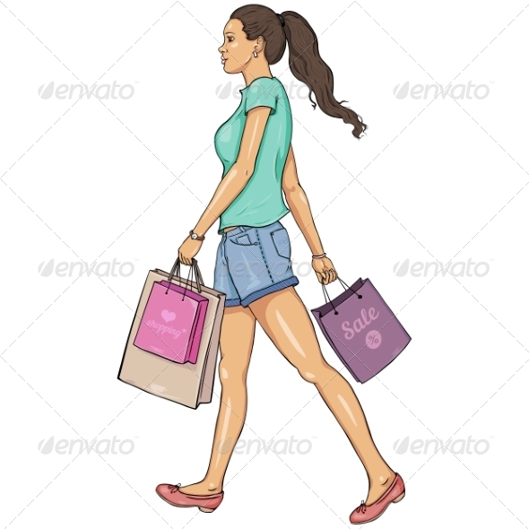 GraphicRiver Cartoon Shopping Girl 7278727