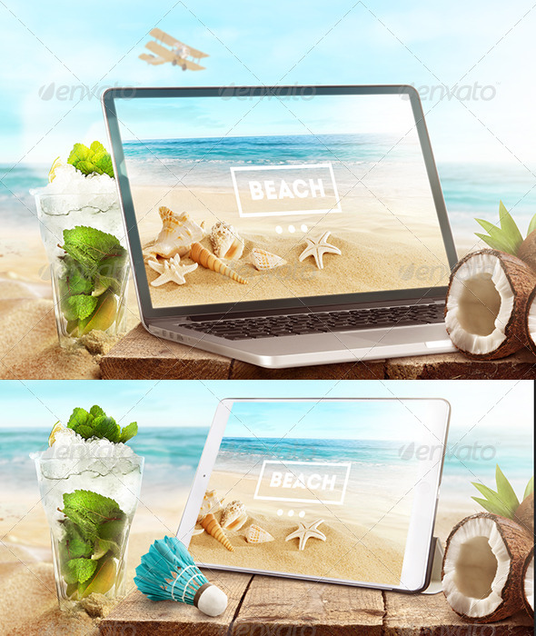 GraphicRiver Mock-Up Laptop and tablet PSD Beach style 7255787
