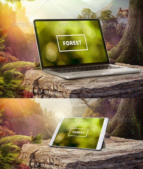 GraphicRiver Mock-Up Laptop and tablet PSD Forest style 7255729
