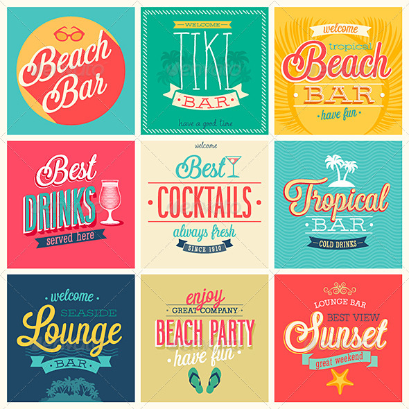 GraphicRiver Beach Bar Emblems 7279080