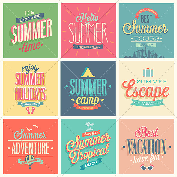 GraphicRiver Summer Set of Labels and Emblems 7279140