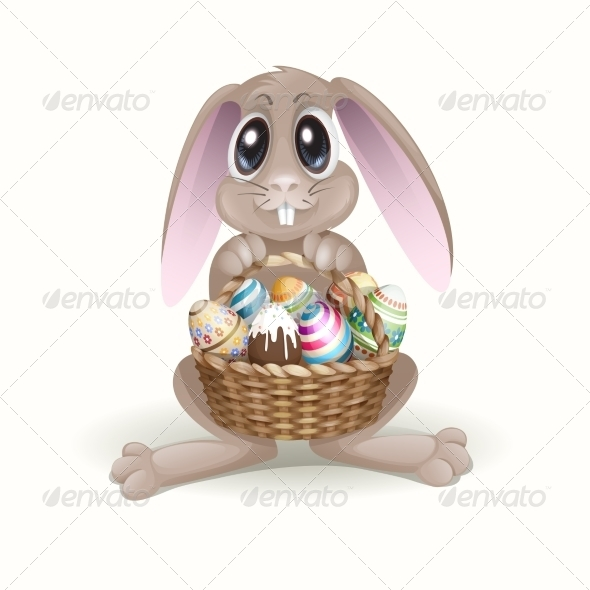 GraphicRiver The Easter Bunny With A Basket 7279733