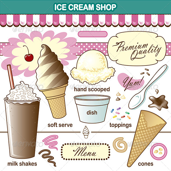 GraphicRiver Vector Art Ice Cream Shop Set Toppings Shake 7280023