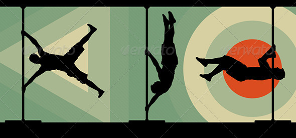 GraphicRiver Male Pole Dancers Performing Pole Moves 7280358