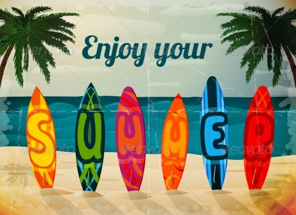 GraphicRiver Summer Vacation Surfboard Poster 7281170