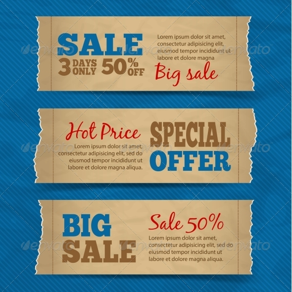 GraphicRiver Cardboard Sale Banners Set 7281259