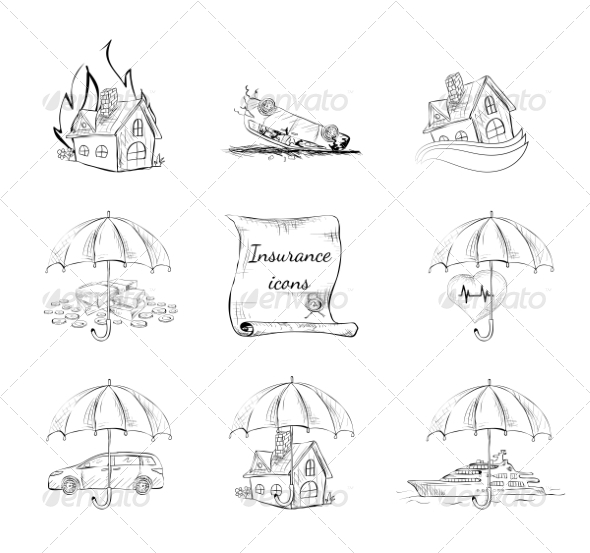 GraphicRiver Insurance Security Icons Set 7281278