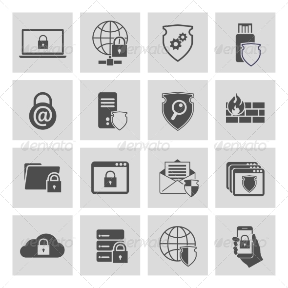 GraphicRiver Information Technology Security Icons Set 7281297