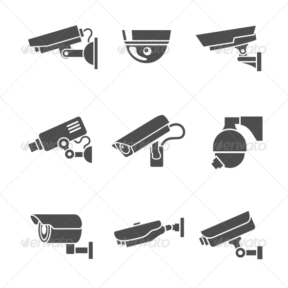 GraphicRiver Security Cameras Icons Set 7281298
