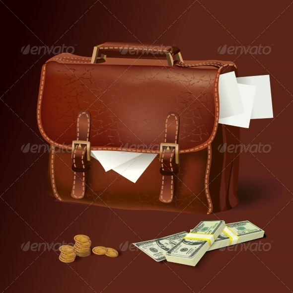 GraphicRiver Leather Briefcase with Documents and Money 7281342