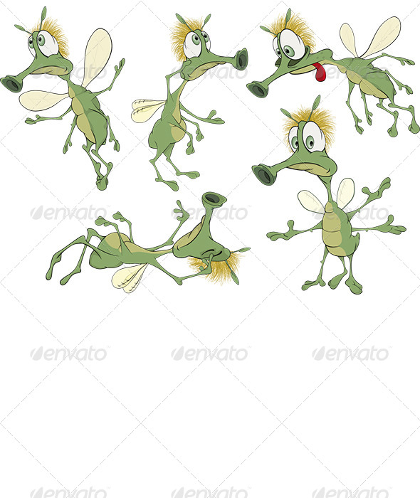 GraphicRiver Green Cartoon Insects 7281352