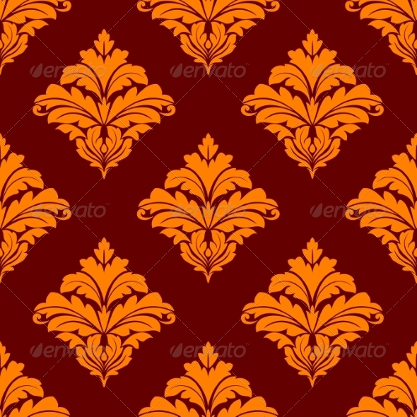 GraphicRiver Red and Orange Floral Seamless Pattern 7281612