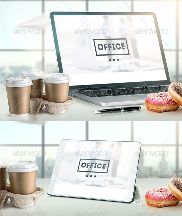 GraphicRiver Mock-Up Laptop and tablet PSD Office style 7255500