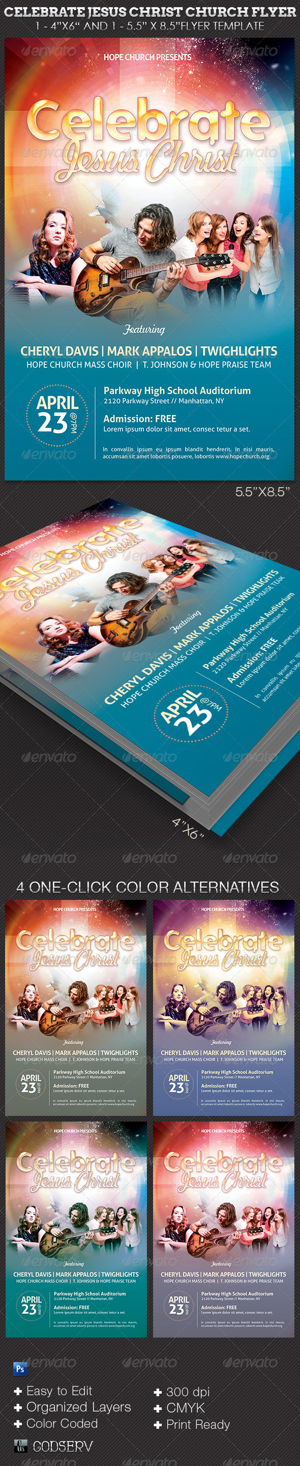 GraphicRiver Celebrate Jesus Christ Concert Flyer Template 7281706