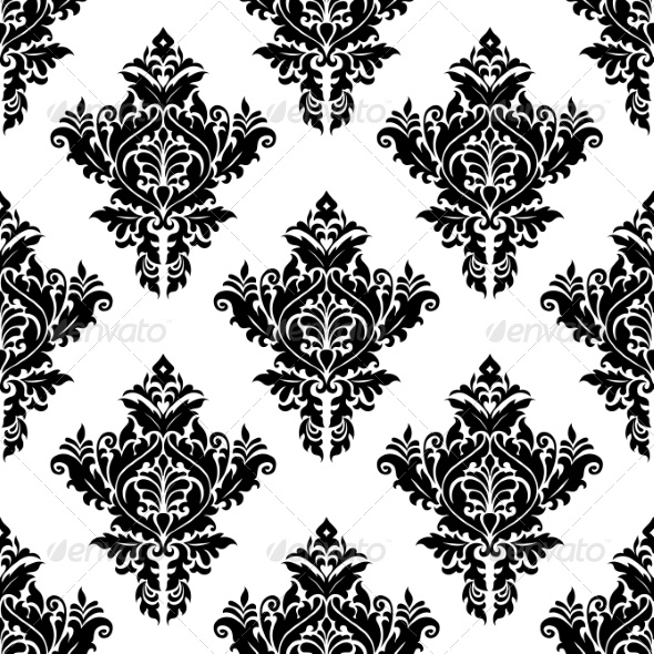 GraphicRiver Monochrome Seamless Floral Pattern 7282171