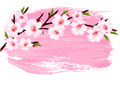 Pink paint sakura branch banner.  - PhotoDune Item for Sale