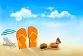 Flip flops, sunglasses, beach chair and a butterfly on a beach. Summer vacation background - PhotoDune Item for Sale