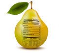 Pear with nutrition facts label. Concept of healthy food. - PhotoDune Item for Sale