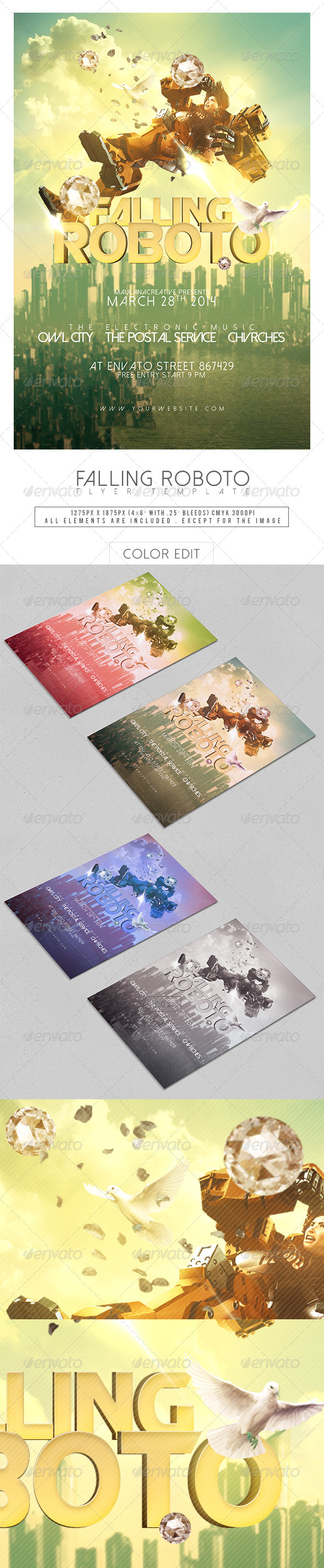 GraphicRiver Falling Roboto Flyer Template 7284325