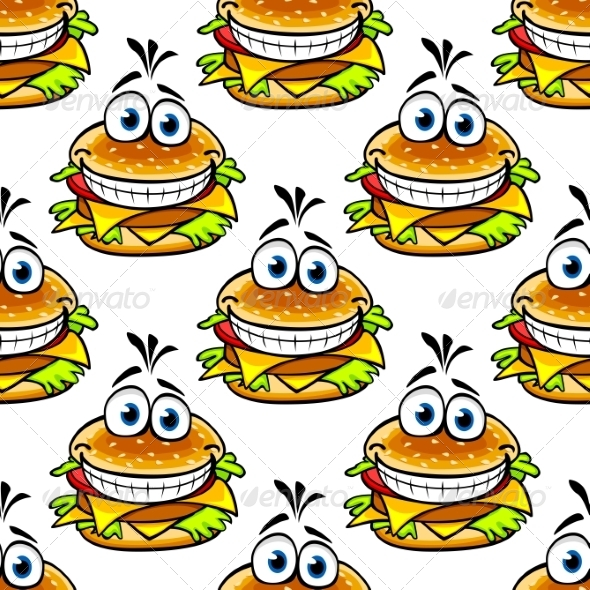 GraphicRiver Seamless Cartoon Cheeseburger Pattern 7284664
