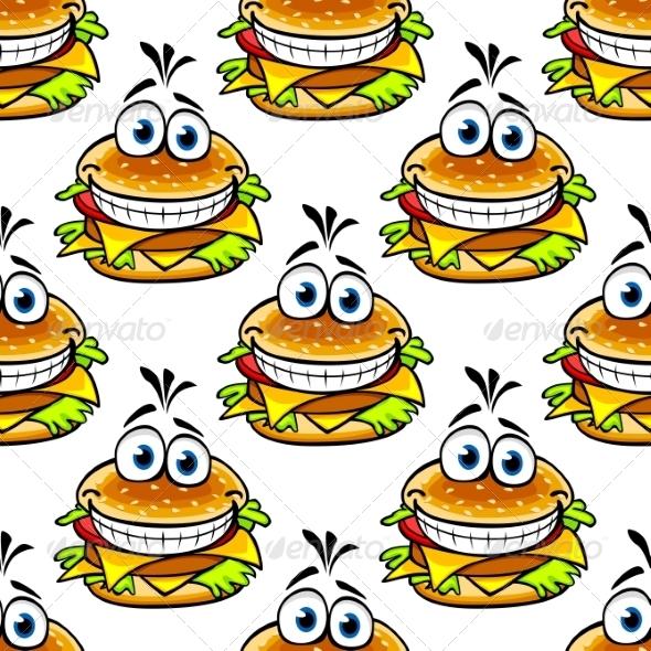 GraphicRiver Seamless Cartoon Cheeseburger Pattern 7284664