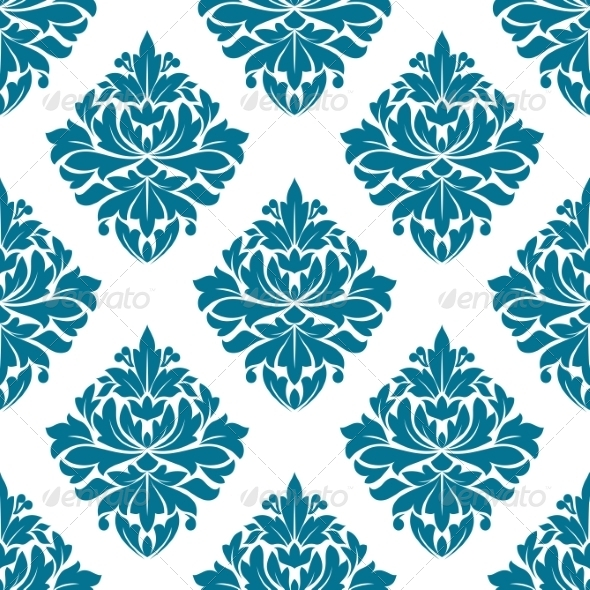 GraphicRiver Ornate Blue Damask Style Floral Pattern 7284858
