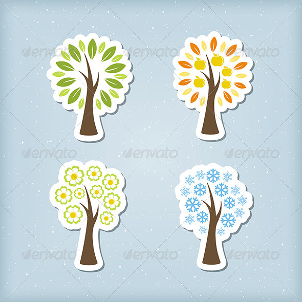 GraphicRiver Four Season Tree Icons 7284877