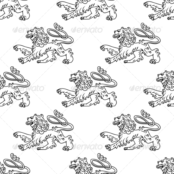 GraphicRiver Seamless Pattern of a Vintage Heraldic Lion 7284992