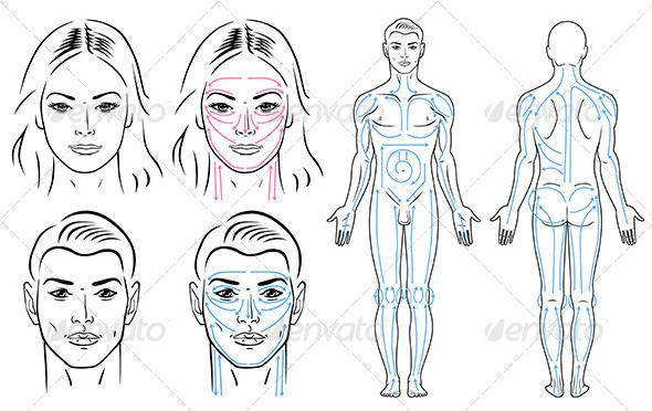 GraphicRiver Facial and body massaging lines for man and woman 7229183