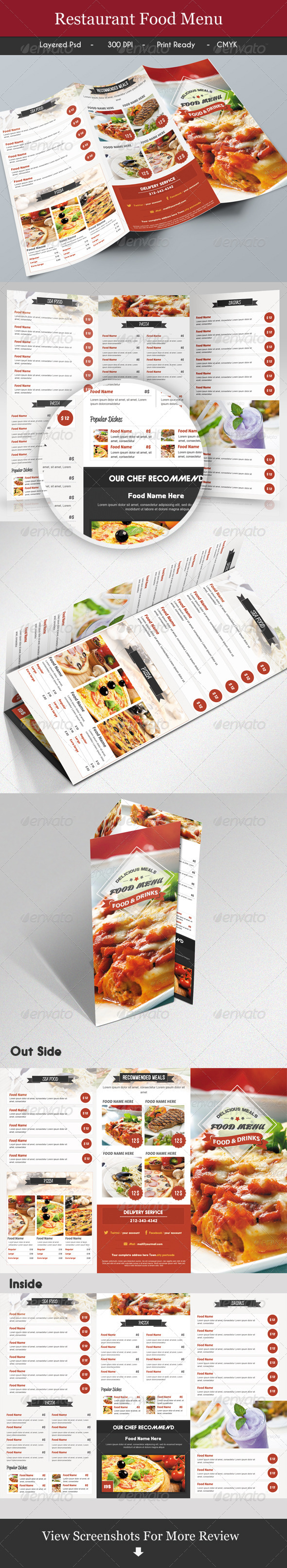 GraphicRiver Trifold Restaurant Menu 2 7285316
