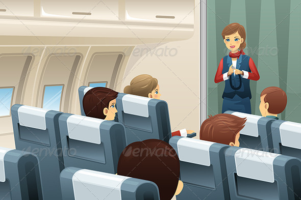 GraphicRiver Flight Attendant Demonstrating 7285336